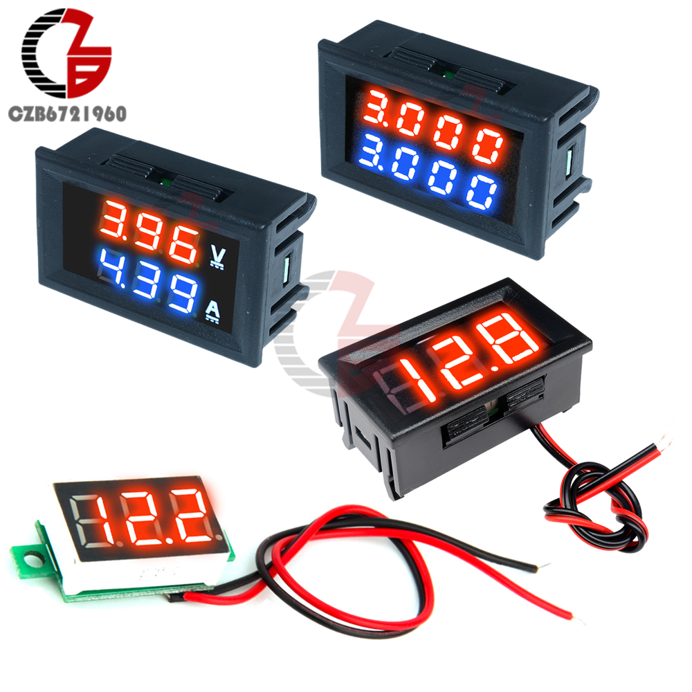 0.28/0.36/0.56 Inch LED Digital Voltmeter Ammeter Car Motocycle Voltage Current Meter Volt Detector Tester Monitor Panel Red