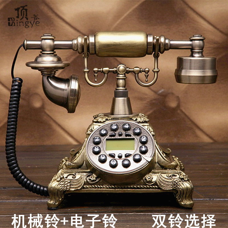 Top, antique European Garden Retro Vintage telephone landline telephone home phone office phone Decoration home art rustic phone