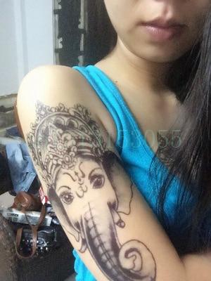 Waterproof Temporary Tattoo Sticker Large Size Elephant Ganesha Tattoos Tatto Stickers Flash Tatoo Fake Tattoos For Women Girl
