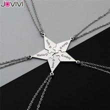 Jovivi personalizado melhor amigos bff colares de aço inoxidável amizade quebra cabeça peça charme pingente colar para diy 5 peças conjunto