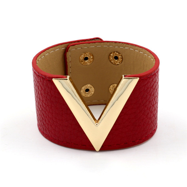 Women Wide Red PU Leather...