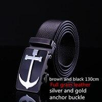 LGFDAB1234 110CM 130cm MEN Full Grain Leather Anchor Silver Buckle Belt