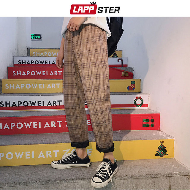 LAPPSTER Streetwear Yellow Plaid Pants Men Joggers 2020 Man Casual Straight Harem Pants Men Korean Hip Hop Track Pants Plus Size 5