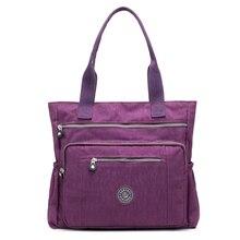 f56b21f0b543e النساء عالية الجودة حقيبة يد من النايلون عارضة كبيرة حقيبة كتف الأزياء  عالية قدرة حمل العلامة