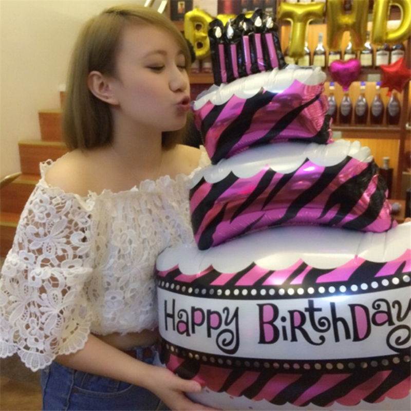 Image 4 - 100*69cm Large Size Birthday Cake Foil Balloons Happy Birthday Party Decoration Supplies Baby Shower Inflatable Helium Air Balls-in Ballons & Accessories from Home & Garden