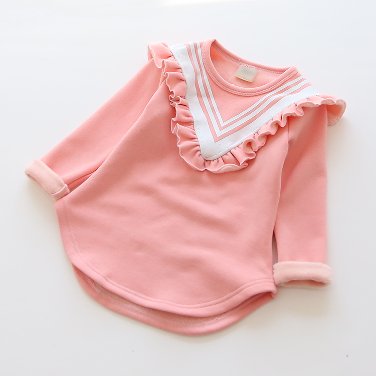 feb48fb4 Winter new style baby girls plus thick velvet long T-shirt fashion cute  beautiful children bottoming shirts tops tees