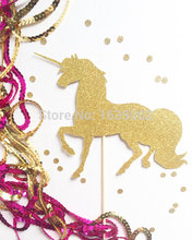 Glittery Unicorn Cake Topper Paper Wholesale 50pcs/lot  Free Shipping