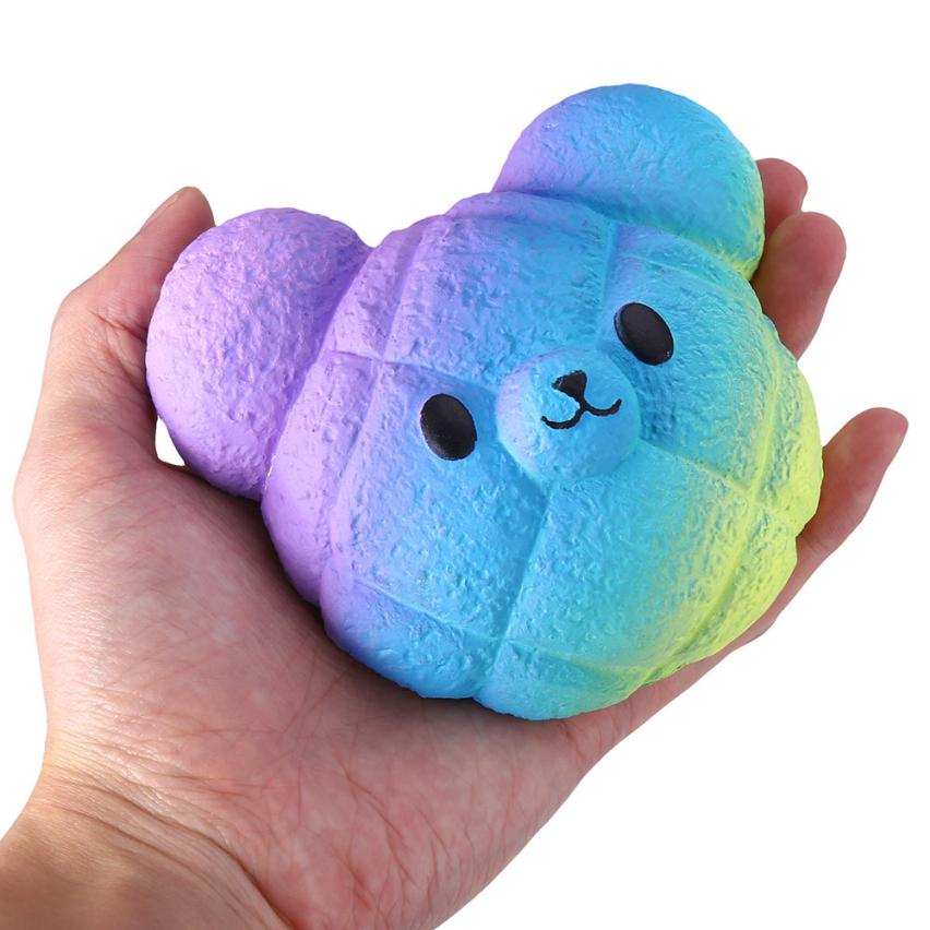 Original Kawaii Kawaii Cartoon Galaxy Bear Squishy Slow Rising Cream Scented Stress Reliever Toy Collection Cure Gifts 7.4 cartoon bear head pu foam squishy toy