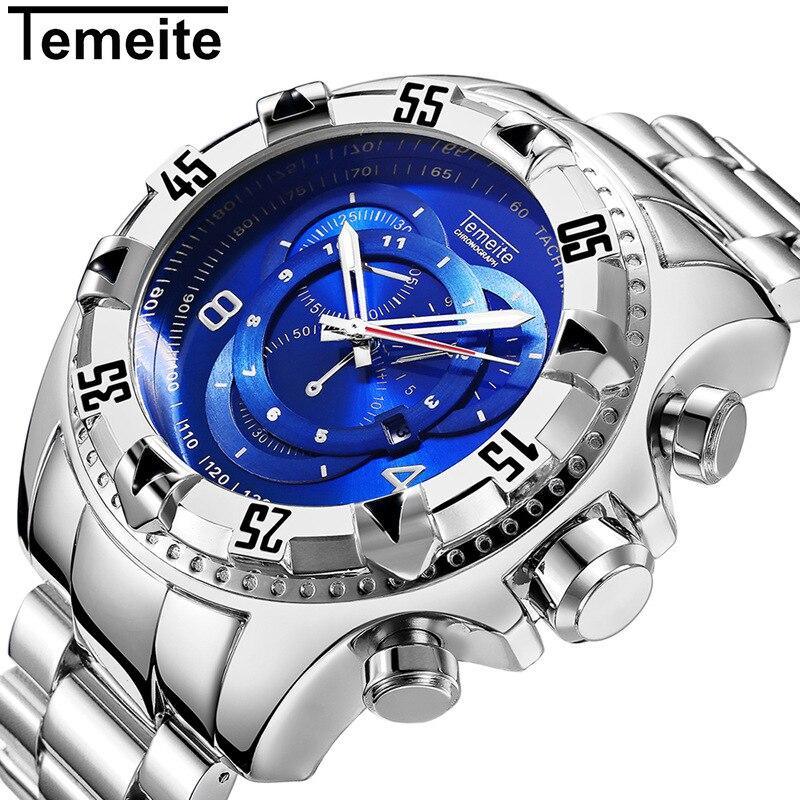 mens Big dial watches luxury gold 316L stainless steel quartz men's wristwatches waterproof creative temeite brand man watch
