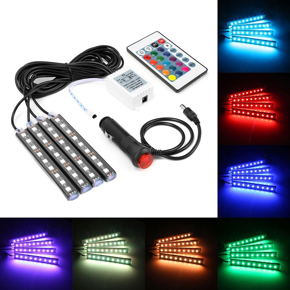 4 unids de coche RGB LED DRL tira de luces LED tira de luces colores Interior del coche decorativo atmósfera lámpara con Control remoto coche diseño