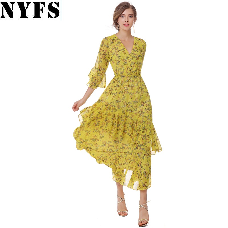 NYFS Printing Long dress V neck irregular Lotus leaf Flare Sleeve Chiffon yellow floral Women dress Vestidos Robe Elbise