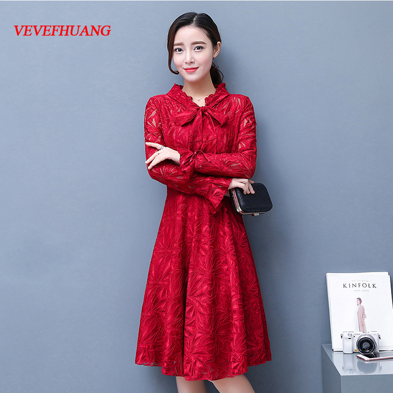2018 Spring Women dress Lace Slim Model Base Purplish Dresses Bordeaux Red L0783