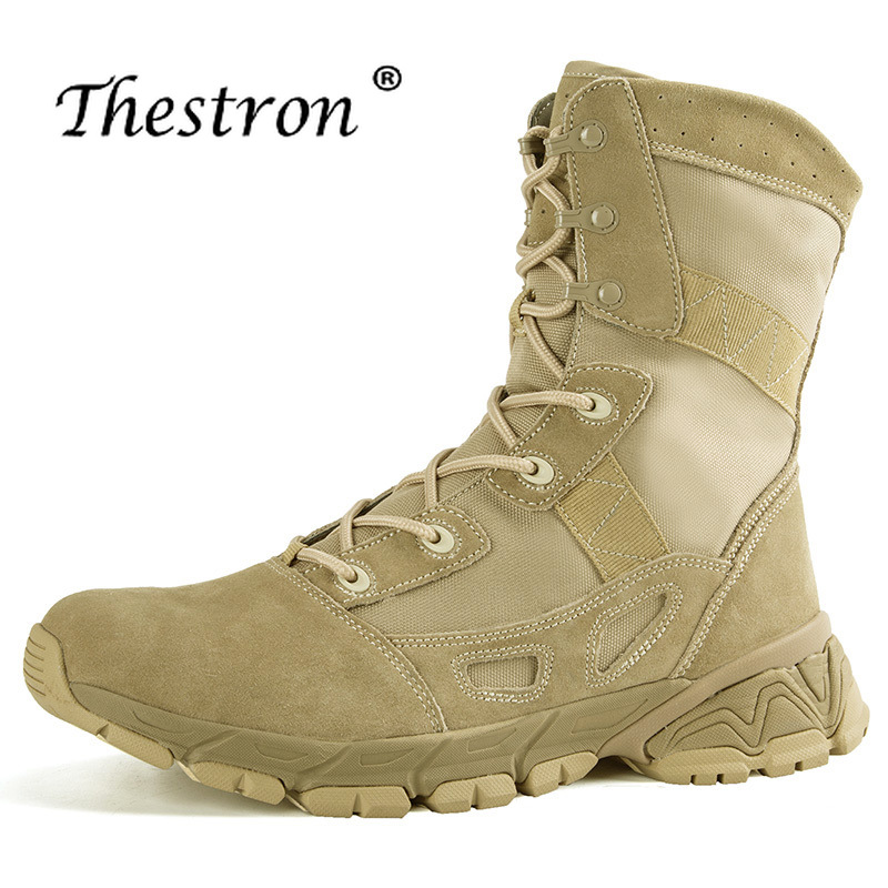 Male Army Military Boots Beige Army Green Desert Boots Comfortable Trekking Boots Men Hard Wearing Wearable Outdoor Men Shoes in Motorcycle boots from Shoes