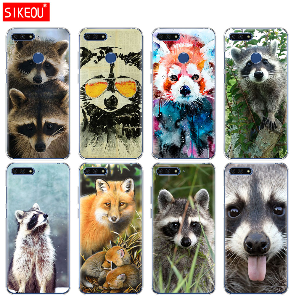 Silicone Cover Phone Case For Huawei Honor 7A PRO 7C Y5 Y6 Y7 Y9 2017 2018 Prime Raccoon red panda fox animal