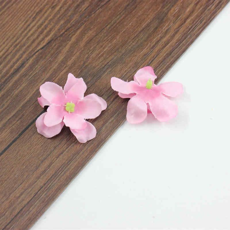 100 piezas camada 2 pequeña flor Hortensia flores De Seda DIY zapatos flor guirlanda decoracao com flores 5 cm