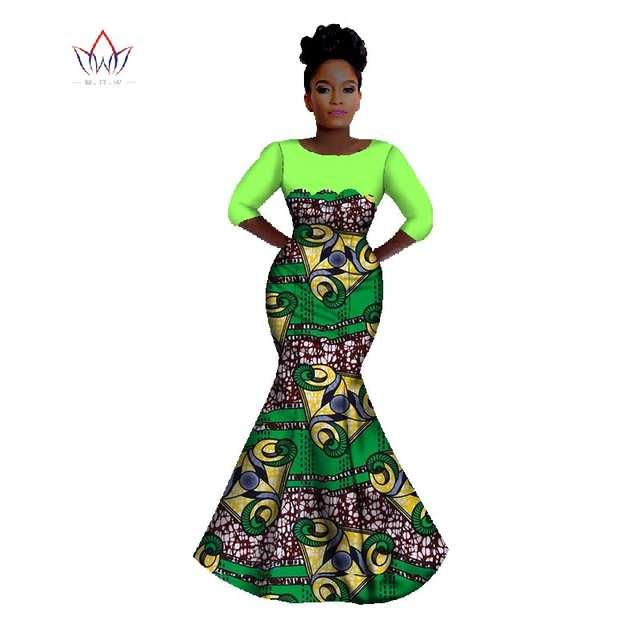 Summer Bazin Riche African Wax Print Long Mermaid Dresses Dashiki Plus Size  6XL Africa Style Clothing 8ac0c186c966