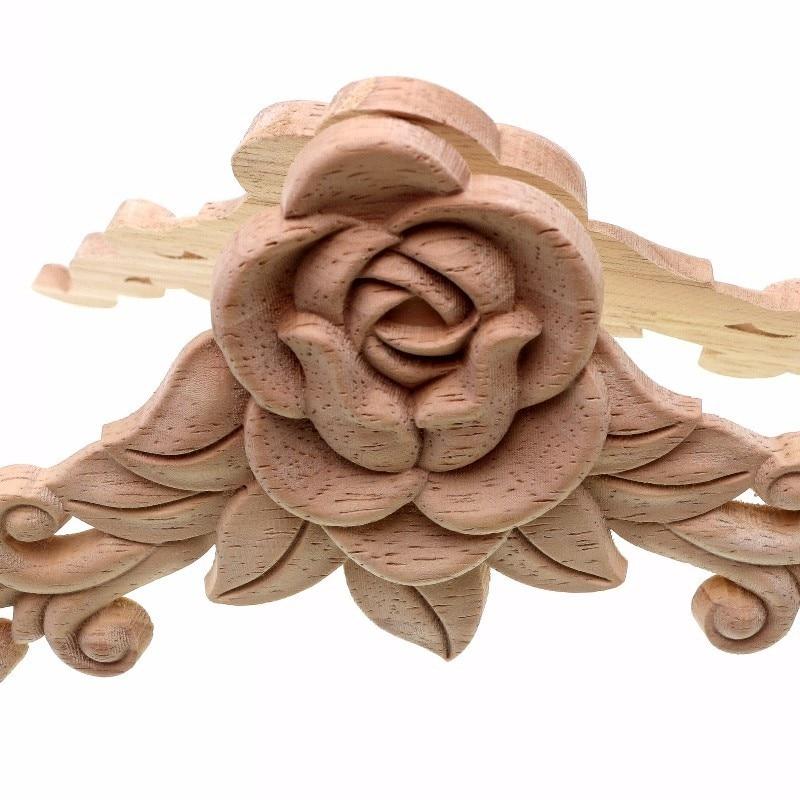 RUNBAZEF SRose Floral Wood փորագրված Decal անկյուն - Տնային դեկոր - Լուսանկար 4