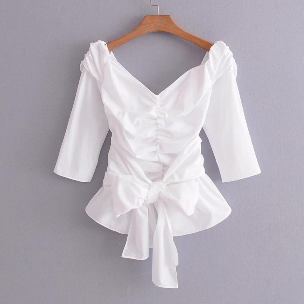 White Off Shoulder Shirt Ruffles Bow Tie Blouse 2018 Elegant Ladies Tops Blusa Camisa Feminina