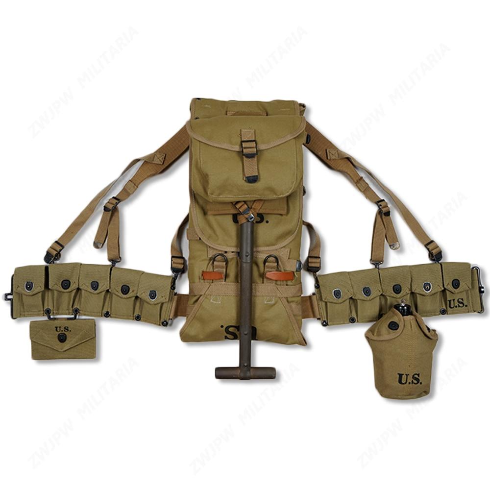 WW2 US armée équipement M36 sac ceinture trousse de premiers soins et 0.8L bouilloire x-type sangles dix cellules poche