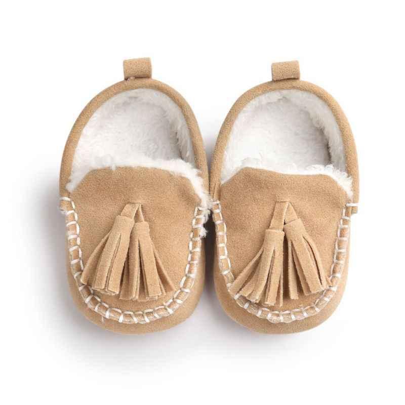 2017 Kış Bebek Pu Deri Bebek Süet Çizmeler Bebek Moccasins Yenidoğan Prenses Bebek Ayakkabıları