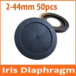 50 sztuk regulowany 2-44mm przysłona przysłony przysłony do mikroskopu aparat cyfrowy teleskop do telefonu Regulator światła z 16 sztuk liści