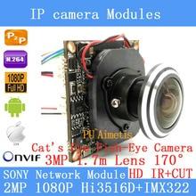 Módulo de Câmera IP IMX322 2.0MP 1080 P 360 Graus Wide Angle Fisheye Câmera Panorâmica Câmera de Vigilância de Infravermelho 1.7mm HD lente