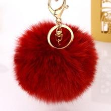 Pom Rabbit Fur Pom KeyChain Car Key Ring Chain For Women Key Trinket Ball Fur Pom Key Chain Bag Pendant Pompon Key Chains YSK002