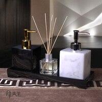 3 Pcs Set Bathroom Resin Liquid Bottle With Tray Cotton Swab Box