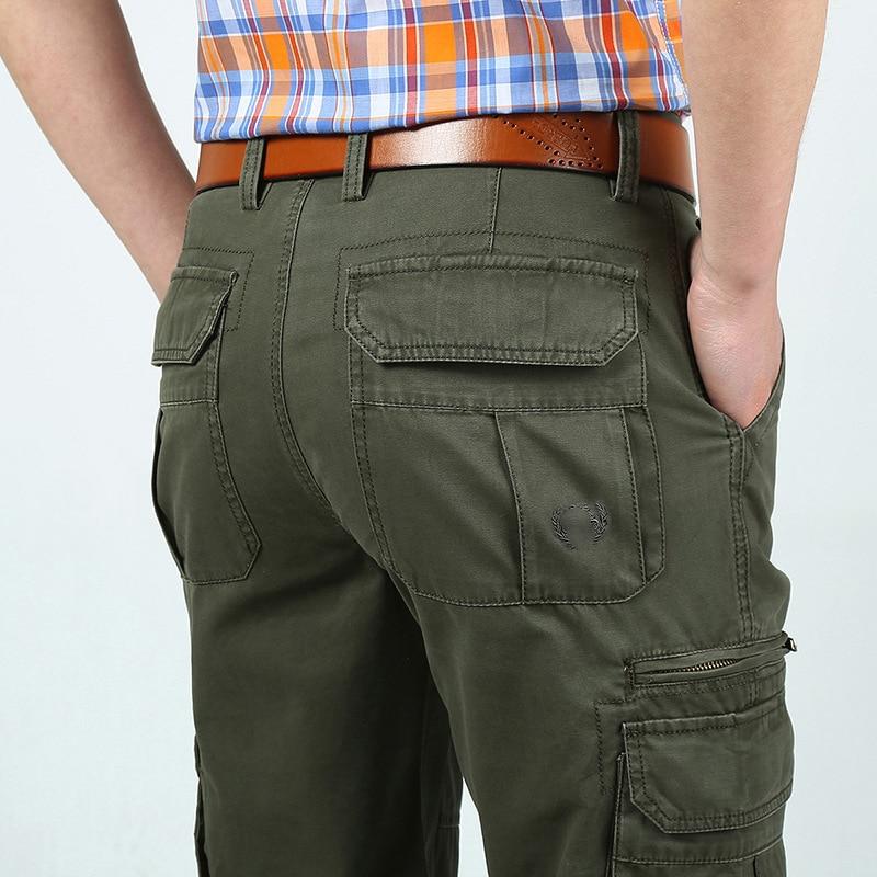 Pants Men's Cargo Pants New Designer Trousers Solid Straight Trousers Military Multi-pockets Cargo Pants Pantalon Homme No Belt