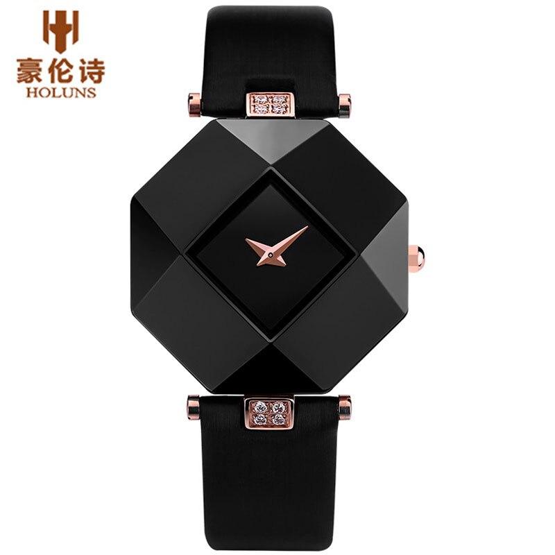 Holuns marca de lujo de cuero relojes mujeres creativo cerámica diamante dial moda casual genuino elegante cuarzo de las señoras del reloj