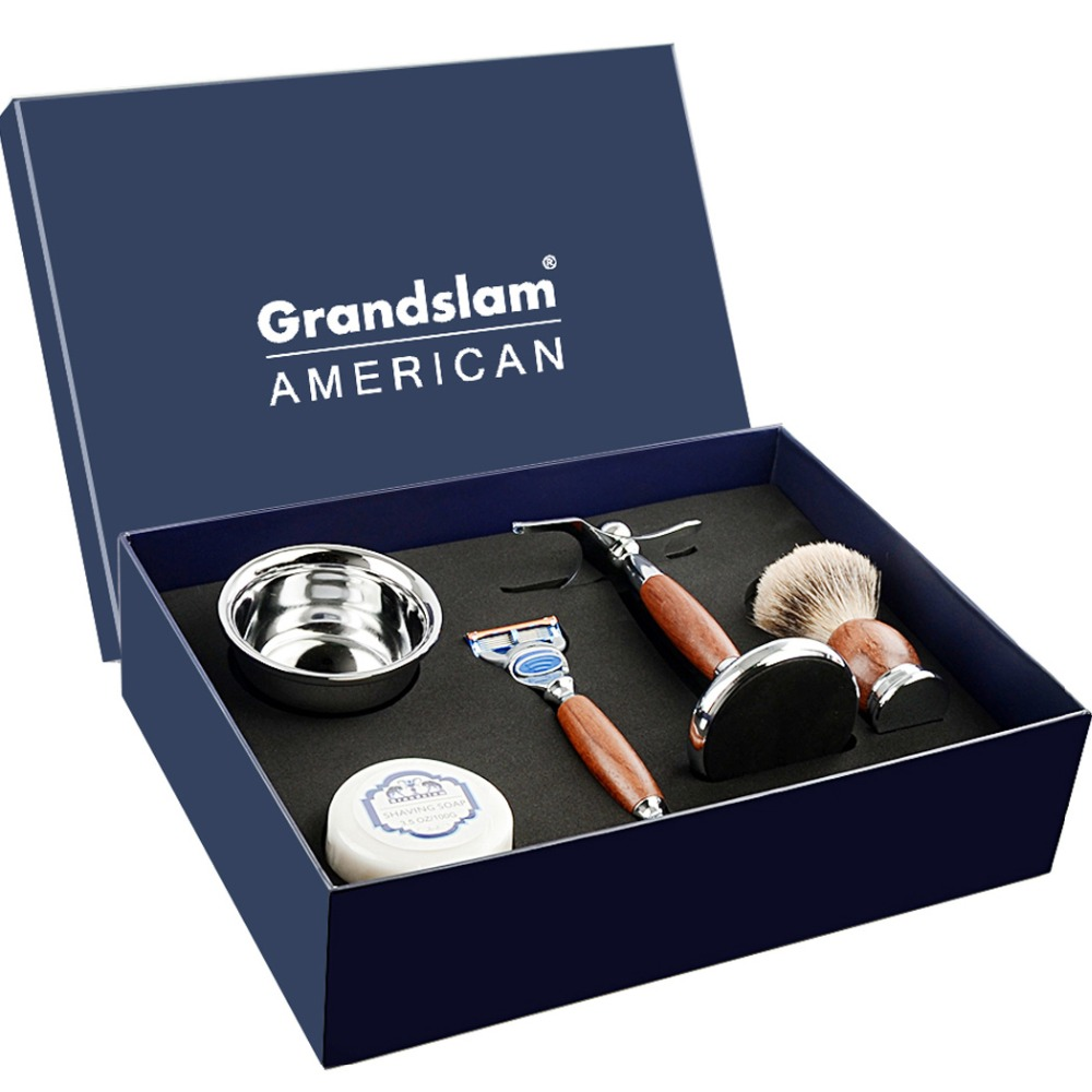 Grandslam Boyfriend Shaving Safety Razor Gift Kit Cartridge 5 layers Blade Shaver  Badger Hair Shaving Brush  Cream Soap Bowl SeGrandslam Boyfriend Shaving Safety Razor Gift Kit Cartridge 5 layers Blade Shaver  Badger Hair Shaving Brush  Cream Soap Bowl Se