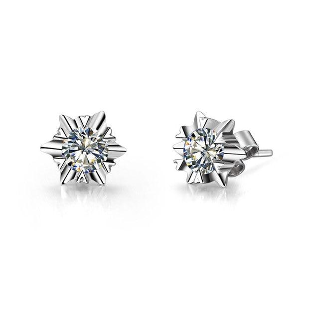 0 6ct Piece Snowflake Earrings Test Positive Genuine Moissanite Diamond Stud Women White Gold