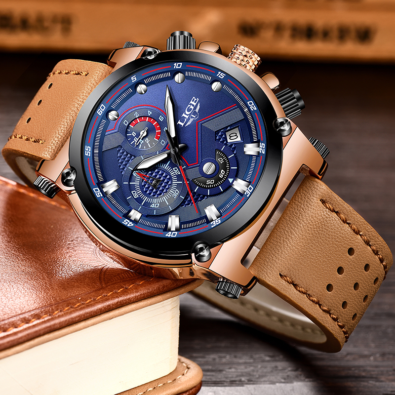 2018LIGE Mens Watches  Brand Luxury Casual Quartz Watch Men Leather Big Dial Military Waterproof Sports Watches Relogio Masculio weide new men quartz casual watch army military sports watch waterproof back light men watches alarm clock multiple time zone