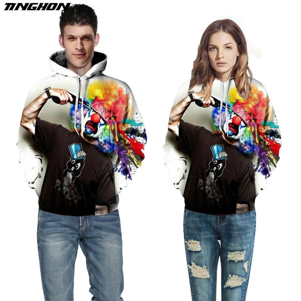 Tinghon любителей новых осень-зима модные Для мужчин/Для женщин Толстовки с капюшоном в шляпе 3D печати выстрел Клоун Тонкий Стиль 3D кофты