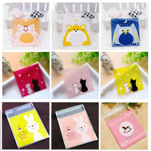 50Pcs/lot 7cm Cute Cartoon Gifts Bags Christmas Cookie Packaging Self-adhesive Plastic For Biscuits Candy Food Cake Package