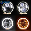 Offroad 7in 80w Projector Series LED Halo Headlight Amber White 7 Inch Round LED Headlights
