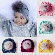Puseky для новорожденных шляпа Вязание шапка в богемном стиле Индия тюрбан Шапки шапки бини шапки Подставки для фотографий Gorro, защищающая малыша от солнца с пушистым помпоном Кепки детскими волосами повязка на голову