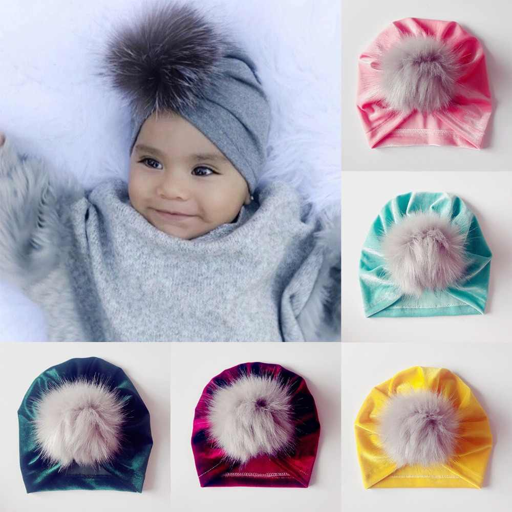 Puseky Newborn Hat Knitting Hat Bohemia India turban Hats Beanies  Photography Props Gorro Fuzzy Ball Cap 2453dad9e6cce