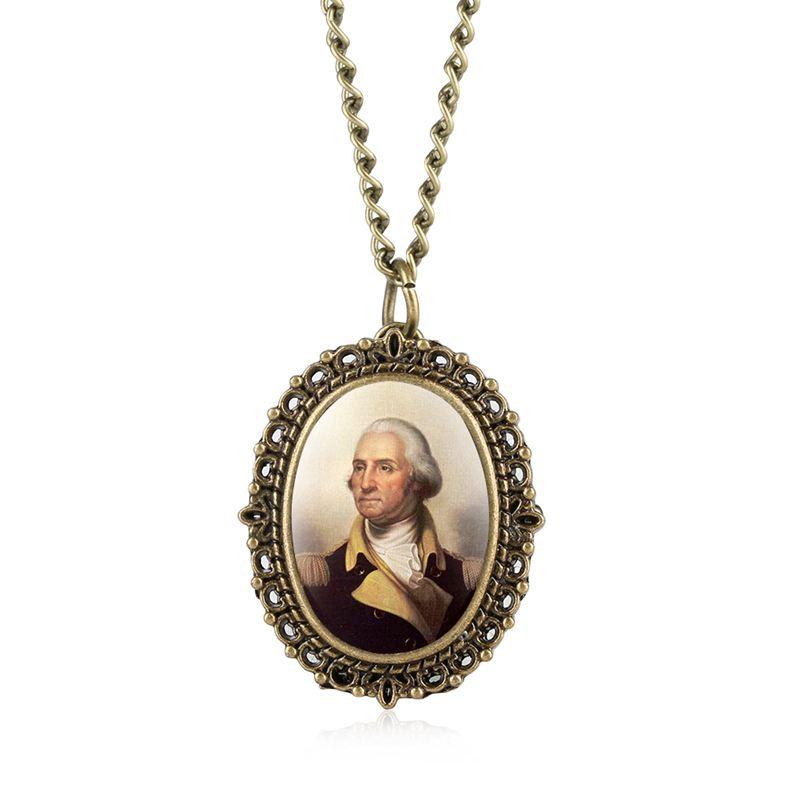 Retro Bronze George Washington Necklace
