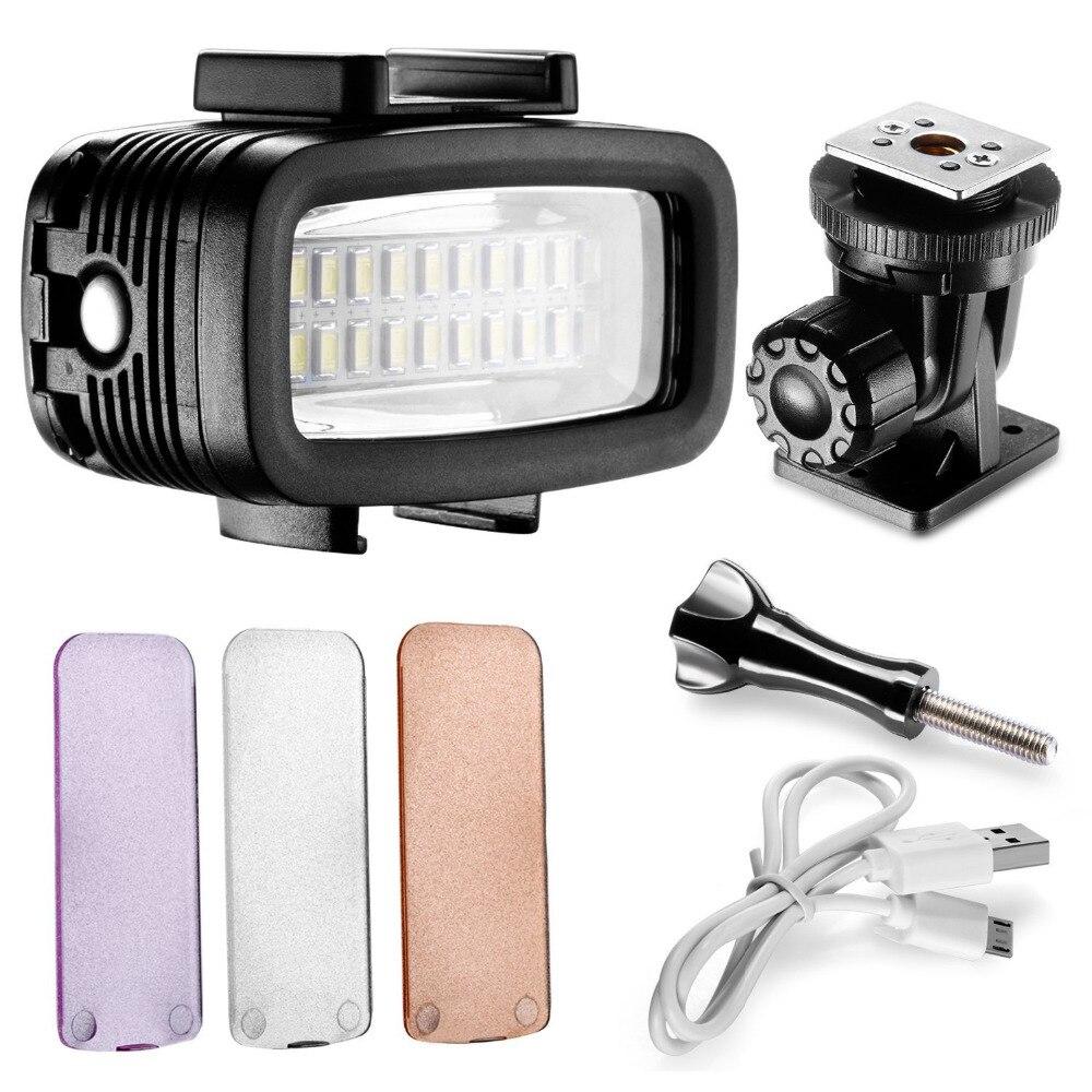 Nuevo vídeo LED-20 20 unids bajo el agua 40 m de buceo lámpara impermeable vídeo LED de luz para cámara DV Gopro Hero4 3 y otras cámaras de acción