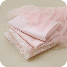 Pink Color Polyester Floral Pattern Net Embroidery Matching Handmade DIY Clothing Skirt dress Cloth Lace Fabric Accessories