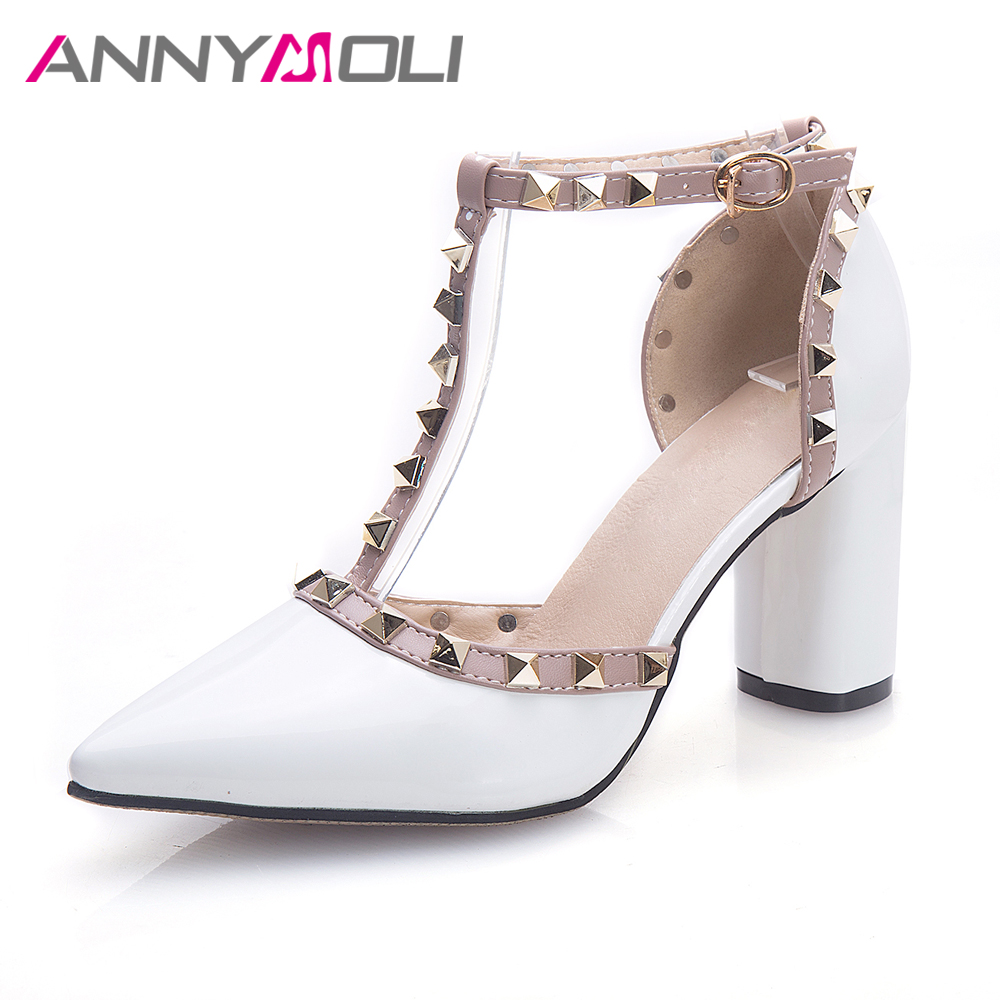 ANNYMOLI Women White Shoes Genuine Leather Thick High Heels Ladies Party Shoes T-Strap Pointed Toe Casual Lady Pumps Size 33-43 meotina high heels shoes women pumps party shoes fashion thick high heels pointed toe flock ladies shoes gray plus size 10 40 43