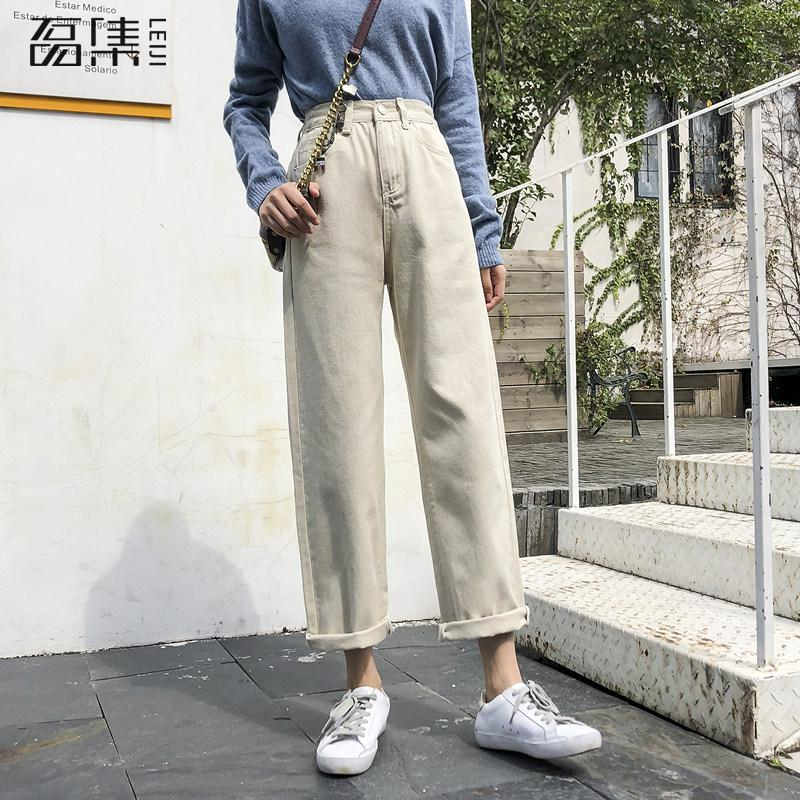 jeans   Woman Spring High Waist Plus Size Softener Loose Straight Ankle Length Denim Pants