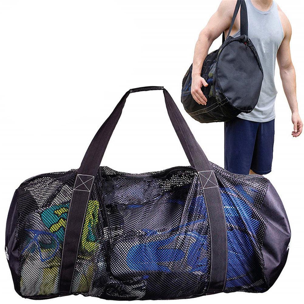 Foldable Portable Beach Bag Mesh Storage Bag Outdoor Beach Park Swimming Towel Clothes Organizer Swimming Bag