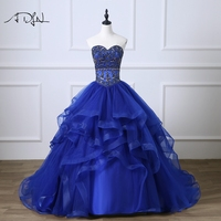 ADLN Sweetheart Corset Royal Blue Quinceanera Dresses Ball Gown Luxury Rhinestones Debutante Gown Customized Sweet 15 Dress