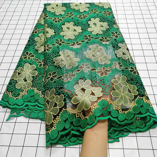 Aqua green African Swiss Voile Lace Fabric High Quality French Tulle Lace Fabric 2020 Nigerian Lace Guipure Embroidery Fabric
