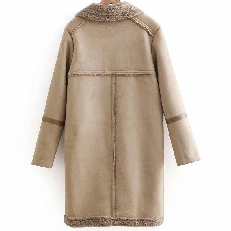 gris 2018 Agneau Femmes Longue Peluche Coréenne Fourrure Dans Noir Nouveau Hiver Revers Veste Chaud La Un Coton Moose Version De En Section camel Épais Manteau AqgfFwE