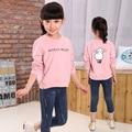 kids girls spring / autumn long-sleeved T-shirt 2017 new baby girls' clothing fashion big virgin shirt 4/5/6/7/8/9/10/11/12