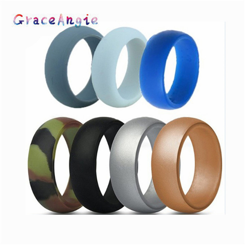GraceAngie 8mm Wide Silicone Ring Couple Ring Wedding Ring 7 Color Set For Dating Proposal Site Wedding image