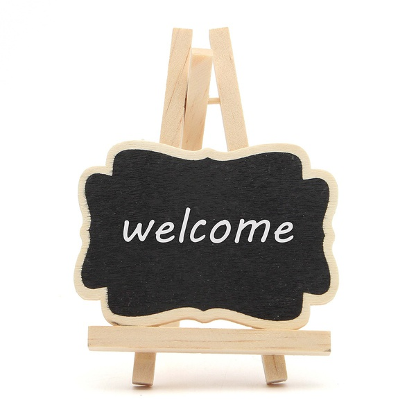 BLEL Hot 10Pcs Mini Wooden Blackboard Message Chalkboard Table Number Wedding Party Decor 7*9*1.2cm